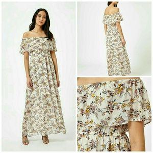 New Miss Selfridge Printed Bardot Maxi Dress sz 10
